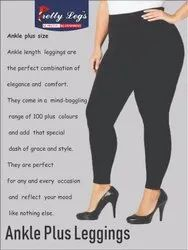 Plus Size Ankle Length 4 Way Stretch Cotton Leggings