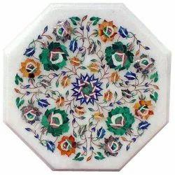White Marble Coffee Table Top Inlay Handmade