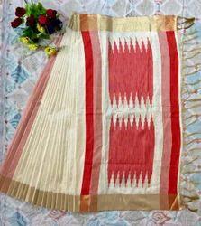 Khadi Cotton Silk Saree with Blouse Piece, Length: 6 m