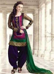 Georgette Unstitched Ladies Punjabi Suit, Machine Wash