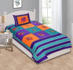 Jaipuri Print Cotton Single Bed Sheet