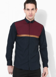 Mens Navy Blue Panel Shirt