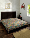Cotton Paisley Floral Printed Kantha Blue Green Quilted Bedspread