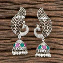 Antique Matte Rhodium Plated Peacock Earring 202322