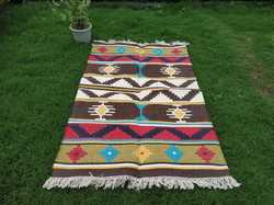 Cotton Kilim Dhurrie Rug, Cotton Handwoven Multicolor Dhurrie, Traditional Carpets