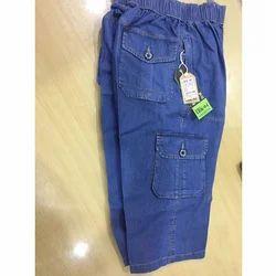 Mens Denim Blue Stretchable Capri Jeans, Size: S & L