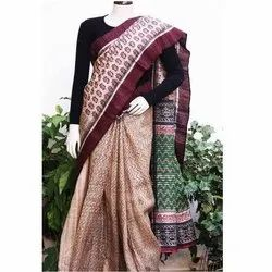 Party Wear Hand Block Printed Tussar Silk Saree, 6.5 M (with blouse piece)