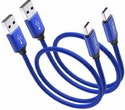 TechGear Short USB Type C USB-C Charger Nylon Braided Fast Charging Cable 0.3 m USB Type C Cable