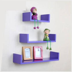 Purple Wooden Wall Shelves, For Home