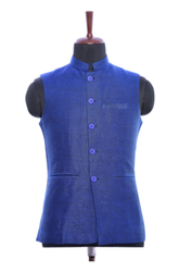 WC00042-306 Blue cotton Waistcoat