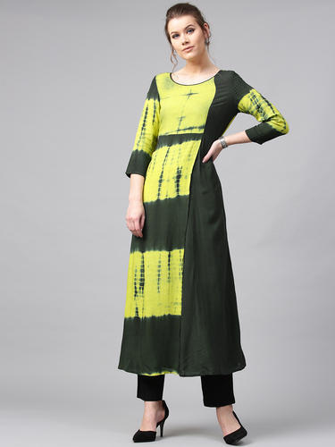 4a295956a4b Rayon Round Neck Green Tie   Dye Printed Straight Kurta