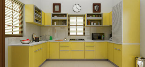 Yellow Colour Modular Kitchen View Specifications