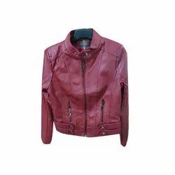 Full Sleeve Plain Ladies Winter Wear Leather Jacket, Size: M-XXL