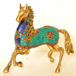 Brass Horse Statue With Turquoise Coral Stone Work