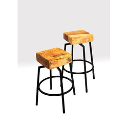 Butcher Block And Metal Spinning Stools