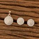 White Copper & Brass Cz Delicate Pendant Set With Rose Gold Plating 401170