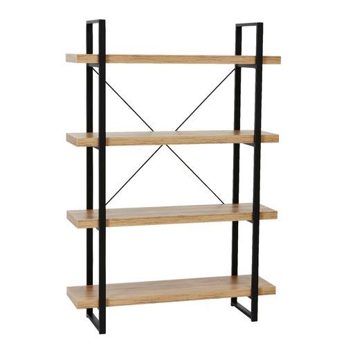 Solid Wood And Iron Natural Metal Industrial Bookshelf