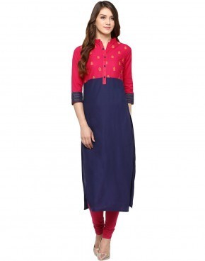 Cotton Blue and Pink V Neck Straight Embroidered Kurta