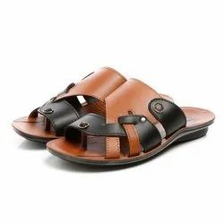 Mens Tan Black Synthetic Leather PU Slipper