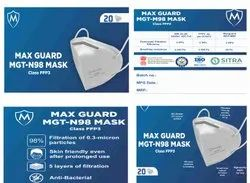 MAX GUARD Disposable FACE MASK N98, Certification: Drde+ Cli+sitra, Number of Layers: 5
