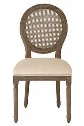 Soni Art Exports Brown Color Bella Oval Canning Back Wooden Chair With Cushion 19x19x39 inch
