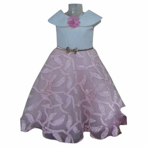 7156e14e3eb Pink And White Kids Umbrella Cut Frock