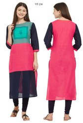 3/4 Sleeve Slab Cotton Kurti