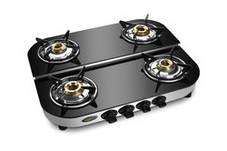 Four Burner Glass Top Gas Stove D/D  SS MODEL