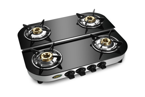 Stainless Steel Four Burner Glass Top Gas Stove D/D, Model: SU-4B-452-TRIM-GLASS