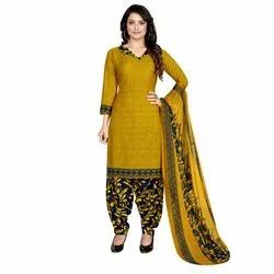 Rajnandini Mustard Crepe Printed Unstitched Dress Material