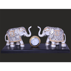 Metal Elephant with Clock Table Stand