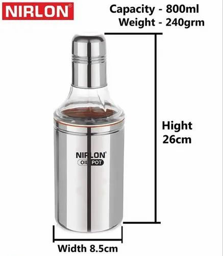 Nirlon Stainless Steel Indian Oil Dispenser 800mL- Oil Pot