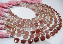 Natural Strawberry Quartz Briolette Size 8mm Beads Faceted Strand 8 Inches.