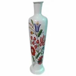 Unique White With Colourful Designs Flower Pot, Size: Height 24