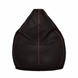 Black Leather (Cover Material) Bean Bag, Size: XXXL