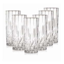 6 Pcs Of Glass Cello Gelido Drinking Glasses Set