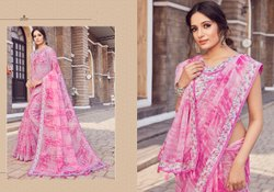 Linen Traditional Formal Wear Printed Sarees, Length: 6.3 M