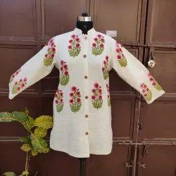Full Sleeve Printed Khadi Cotton Jacket With Block Print