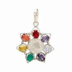 Navratan Or Navgrah Silver Plated Pendant