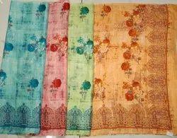 Ladies Leaf Printed Kota Silk Saree