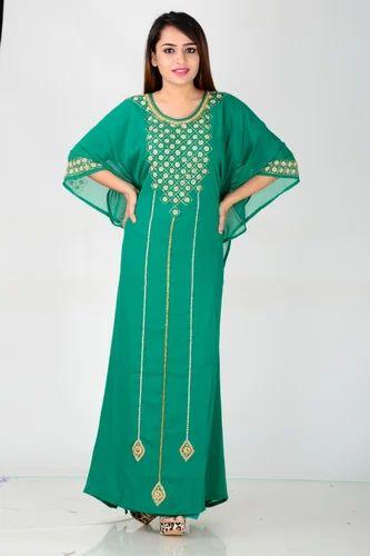8c14ab38f4ae Ladies Chiffon Round Neck Green Kaftan, Rs 1300 /piece, Jani Import ...