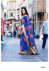 Bewildering Pure Taspa Linen Printed Party Wear Saree
