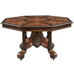 Brown Octagonal Wooden Table Height 3 Feet