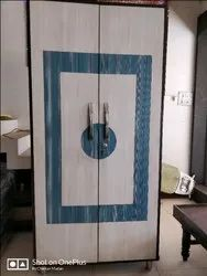 Blue And White Wooden Cupboard