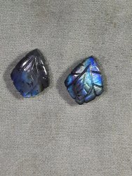 Natural Labradorite Handmade Carved Fancy Shape Loose Gemstone Pairing Set Of Pendant And Earring