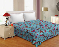 Blue Colored Multicut Work Cotton Double Bedsheet
