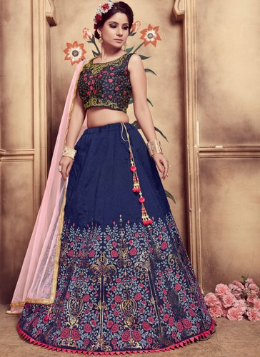 d11febce34fbdd Wedding Wear Flamboyant Navy Blue Art Silk Trendy Lehenga Choli, Rs ...