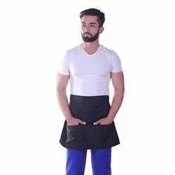 Half Waist Multipurpose Cotton Black Apron, Size: Free Size