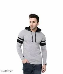 Hosiery Plain Mens Hooded T Shirt