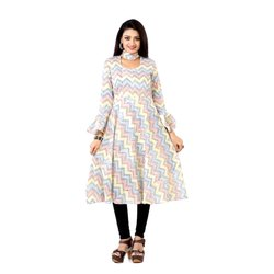 A-Line Casual Wear Ladies U-Neck Fancy Cotton Printed Kurti, Size: S, M, L